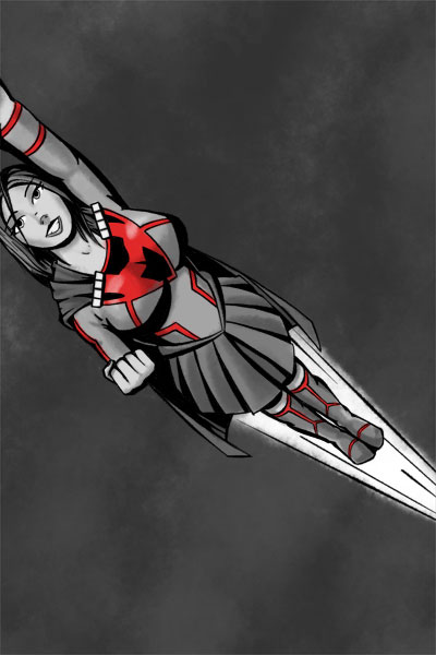 Flying superheroine