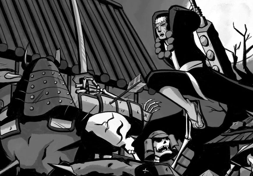 Warrior fights skeletons
