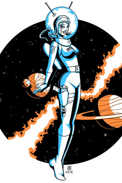 Retro-futuristic pin-up girl